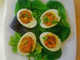 Spicy Deviled Eggs with Onion Tomato Masala