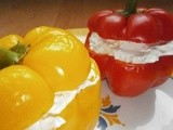 Bell peppers stuffed with fresh goat's cheese