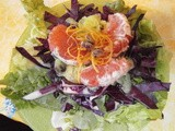 Green salad with red cabbage and grapefruit