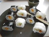 Makis with cucumber, carrots and avocado