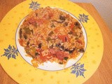 Risotto with tomato, mushroom and chorizo