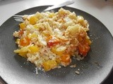 Vegetable risotto with fennel, bell pepper, tomatoes and carrots