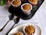 Eggless Carrot Banana Wheat Muffins | Healthy Muffins