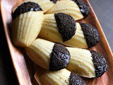 Eggless Vanilla Madeleines Recipe Dipped in Chocolate