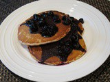 Hearty Oatmeal Walnut Pancakes With Blueberry Sauce