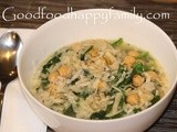 Spinach, Orzo and Chickpea Soup