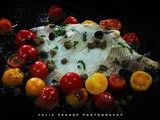 Roasted cherry tomatoes and skate, fish on Fridays