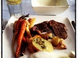 Peppered beef and roast veggies