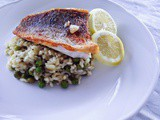 Recipe: Crispy skinned barramundi with lemon and pea risotto