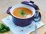 Roasted Tomato and Bell Pepper Soup with Crunchy Sweet Corn