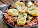 Tomato & Mustard Seed Rice with Roasted Zucchini and Artichoke Hearts
