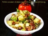 Potato, cucumber, chickpea salad with mustard sauce dressing