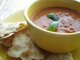 Cosi-style Tomato Basil Soup with Crisp Rosemary Flatbread