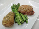 One pan Roasted Chicken, Asparagus, and Hasslebeck Potatoes