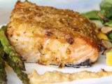 Almond Crusted Salmon with Roasted Asparagus and Mango Spinach Salad