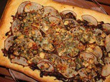 Focaccia with Caramelized Onions, Pear and Blue Cheese