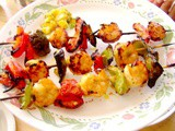 Grilled Mango Shrimp Kebobs with Mango Salsa