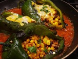Stuffed Poblano Peppers in Red Spicy Salsa