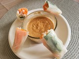 Vegetarian Vietnamese Summer Rolls with Spicy Peanut Sauce