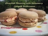 Chocolate Macarons with Strawberry Compote Buttercream