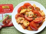 Cooking with Lee Kum Kee Menu Oriented Sauces: Prawn tomato omelet with egg tofu (蕃茄明蝦炒蛋)