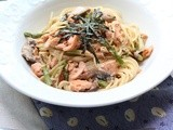 Lazy Weekend Meal; Salmon Miso Cream Pasta
