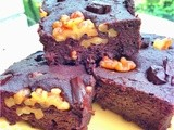 Vegan Tofu Brownies with Walnuts and Chocolate Chunks