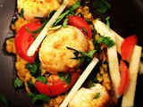 Curried scallops with coconut and coriander dahl and apple salad by Shaun Rankin