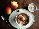 Spiced poached pear with cardamon cream