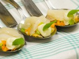 Carpaccio van Coquille met groene curry // Carpaccio of Scallops with green curry