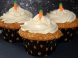 Carrot cake muffins with cream cheese frosting