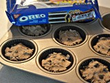 Chocolate chip cookie cups stuffed with oreos