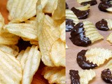 Chocolate dipped potato chips with sea salt & caramel