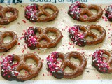 Chocolate dipped valentine pretzels