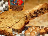 Cookie bars stuffed with toasted marshmallows & girl scout tag alongs