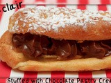 Eclairs stuffed with chocolate pastry cream