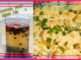 Iced green tea with berries & the best scrambled eggs
