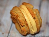 Peanut butter cookies stuffed with caramel butter cream frosting