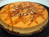 Pumpkin cheesecake with salted caramel & pecans