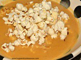 Pumpkin Soup Topped With Popcorn