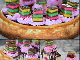 Rainbow Cookie Cheesecake