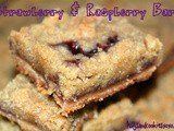 Raspberry & strawberry jam filled crumb bars