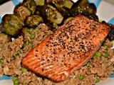 Salmon, fried rice & brussel sprouts! yum