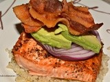 Salmon With Avocado, Red Onion and Bacon