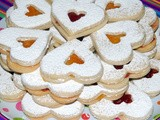 Shortbread hearts filled with jam
