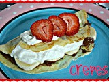 Strawberry and nutella banana crepes with whipped cream