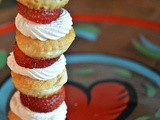 Strawberry shortcake skewers with a white chocolate sprinkle