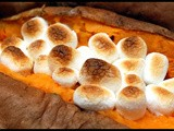 Sweet potatoes topped with mini marshmallows