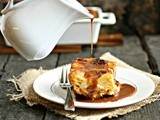 Cinnamon Bread Pudding with Salted Chocolate Rum Sauce #CaptainsTable
