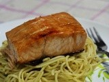 Honey Glazed Salmon (Happy Call) & Aglio Olio